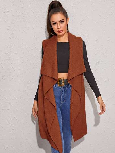 Shawl Collar Asymmetrical Hem Teddy Vest