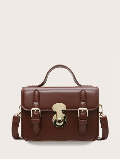 Double Buckle Decor Flap Satchel Bag