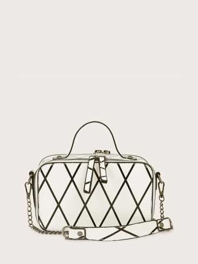 Geometric Graphic Satchel Bag