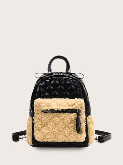 Contrast Faux Fur Quilted Backpack