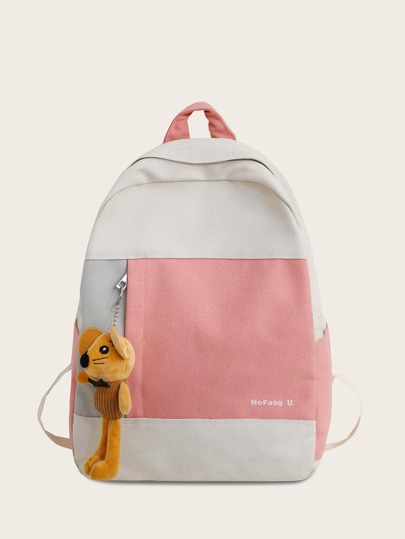Color Block Toy Charm Backpack