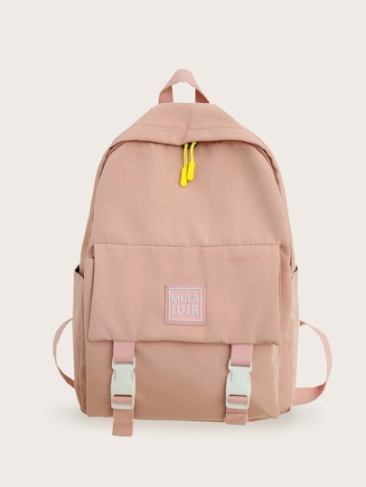Letter Patch Pocket Front Backpack