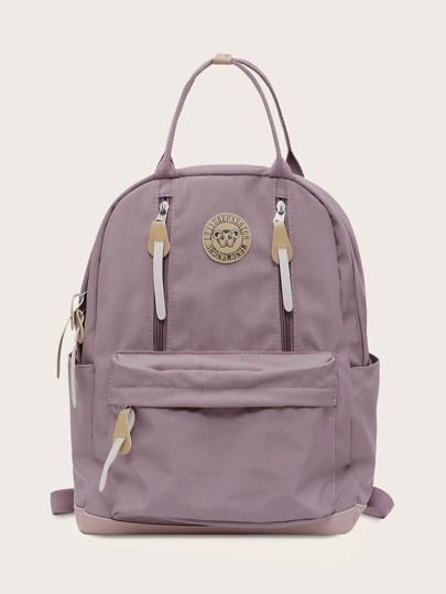 Zip Front Letter Patch Backpack