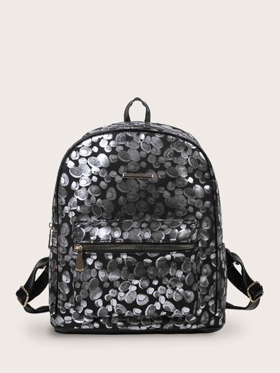 Geometric Graphic Pocket Front Backpack