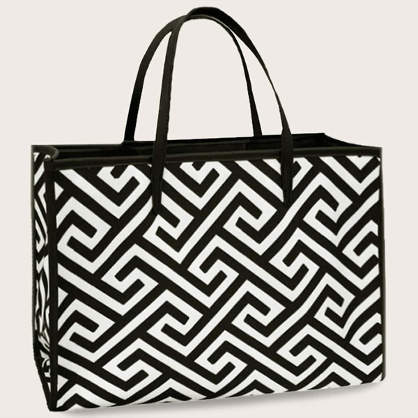 Two Tone Canvas Tote Bag, Black and white