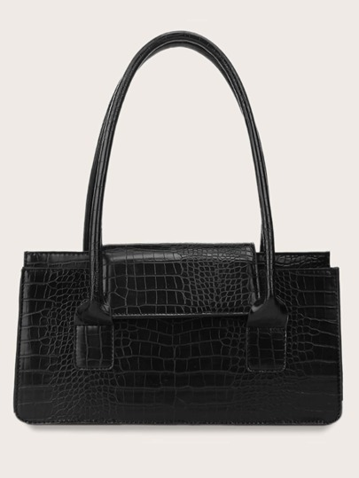 Croc Embossed Double Handle Tote Bag