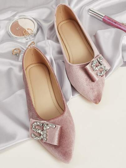 Rhinestone Decor Point Toe Velvet Flats