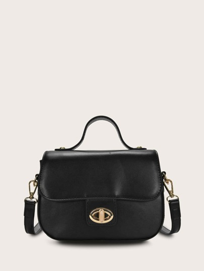 Twist Lock Flap Satchel Bag