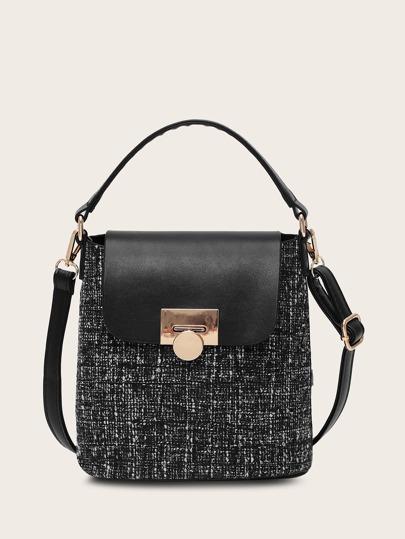 PU Panel Flap Satchel Bag