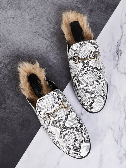 Snakeskin Faux Fur Loafers Mules