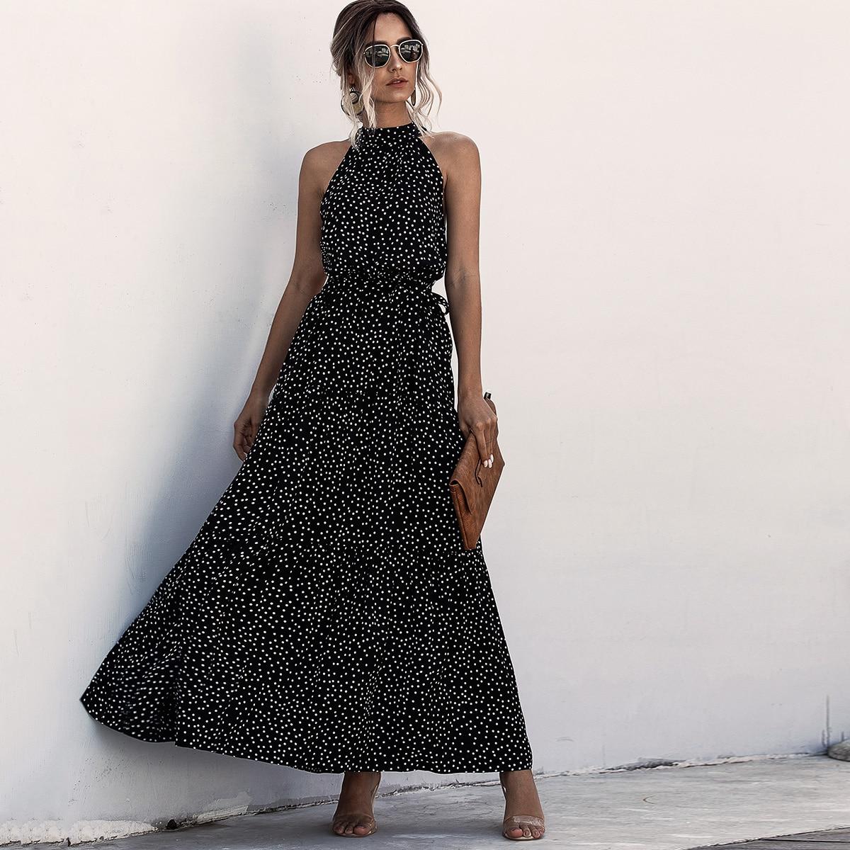 Платье-халтер макси в горошек с поясом