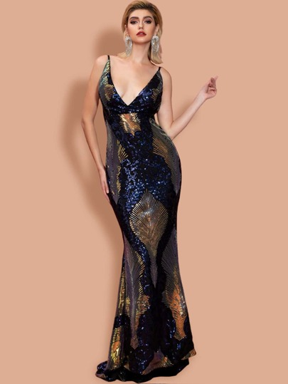 Missord Plunging Neck Backless Geo Sequin Maxi Prom Dress