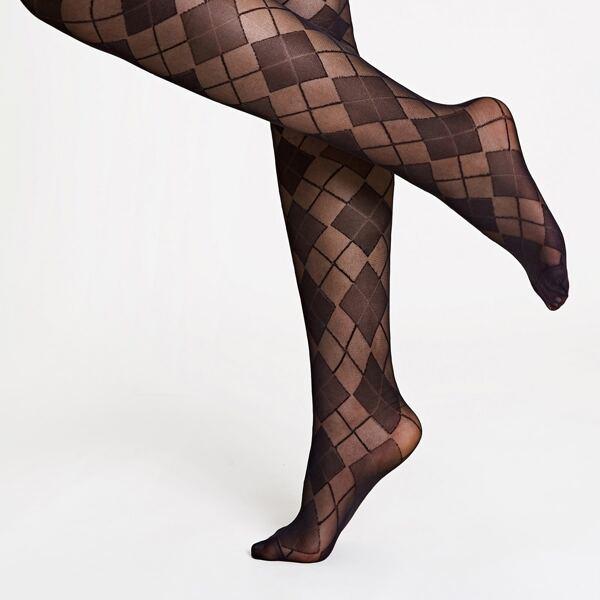 Geometric Mesh Socks-pantyhose, Black