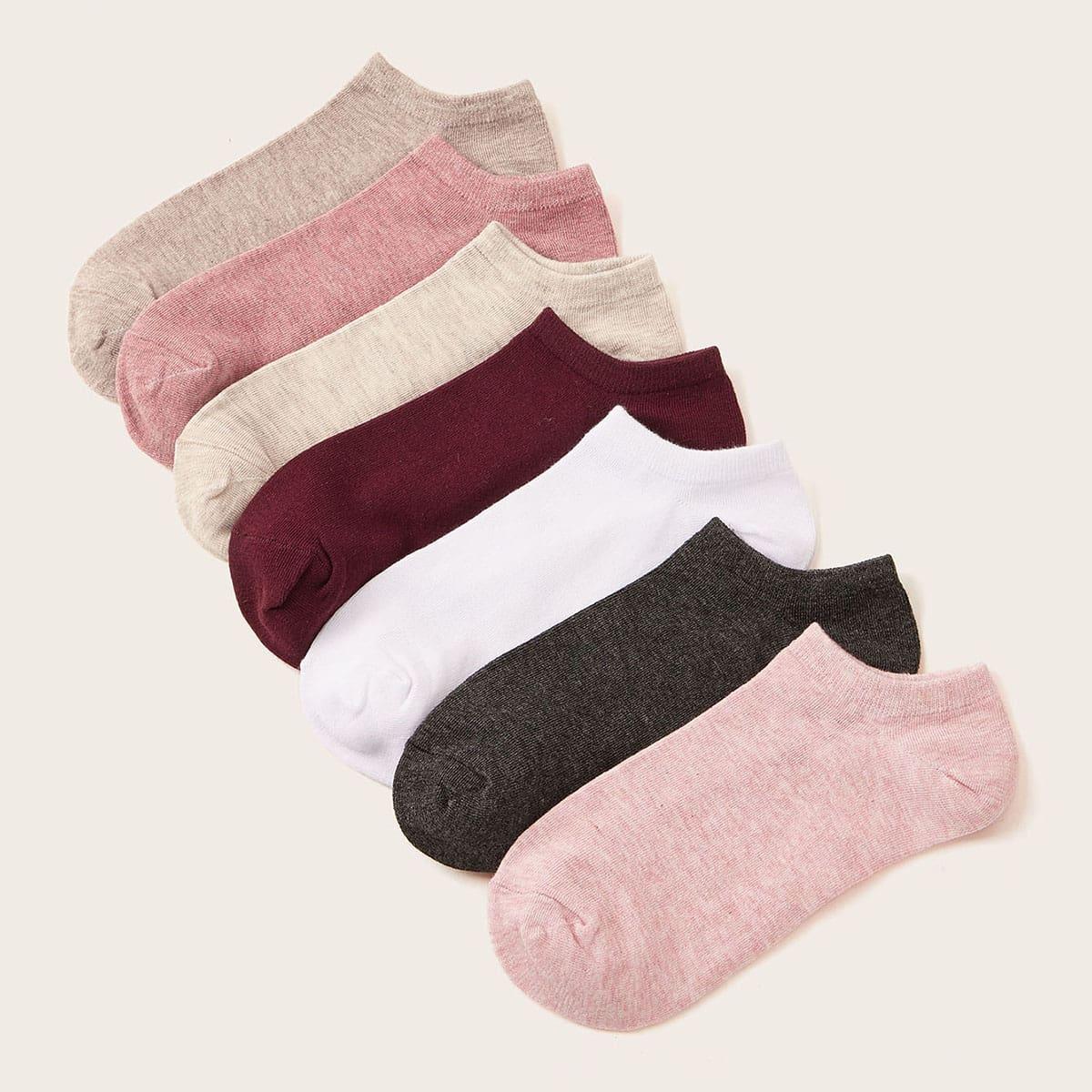 7pairs Simple Ankle Socks