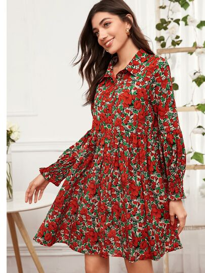 Shirred Cuff Floral Print Dress