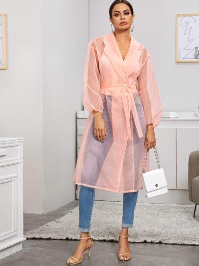 Belted Lapel Collar Sheer Coat