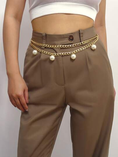 Faux Pearl Decor Waist Chain Belt