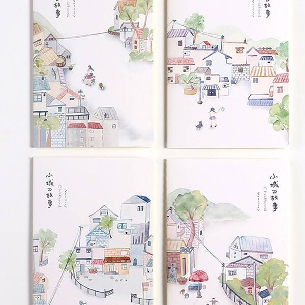 4packs Cartoon Town Print Cover Notebook