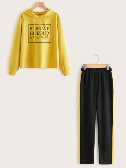 Slogan Graphic Drawstring Hoodie & Contrast Panel Pants