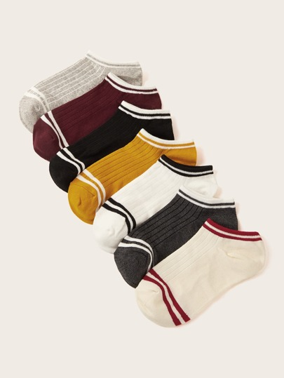 7pairs Striped Trim Ankle Socks