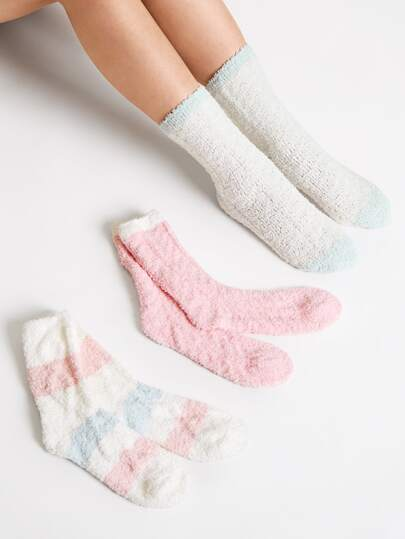 3pairs Color Block Fluffy Socks