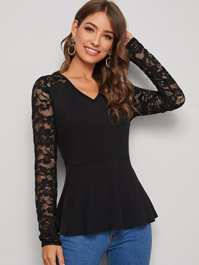 Solid Contrast Lace Ruffle Hem Tee