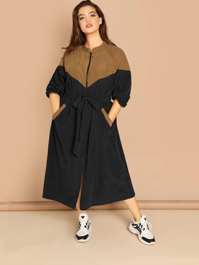 Plus Zip Up Color-block Belted Belted Coat