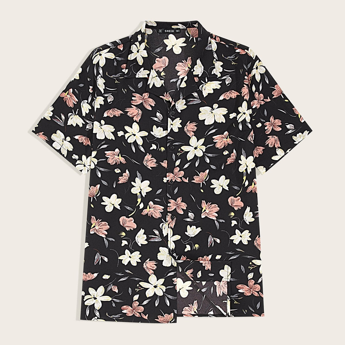 Мужская рубашка с цветочным принтом и клиновидным вырезом