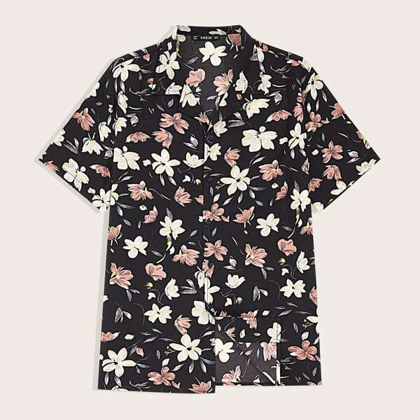 Men Notched Collar Floral Print Shirt, Multicolor