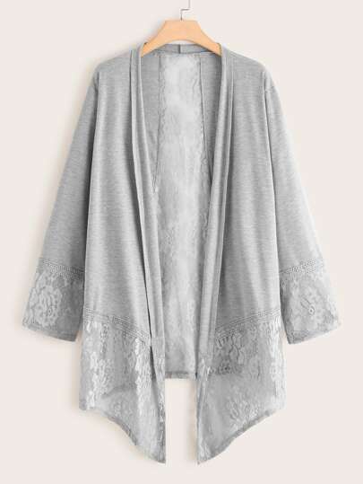 Plus Contrast Lace Asymmetrical Hem Coat