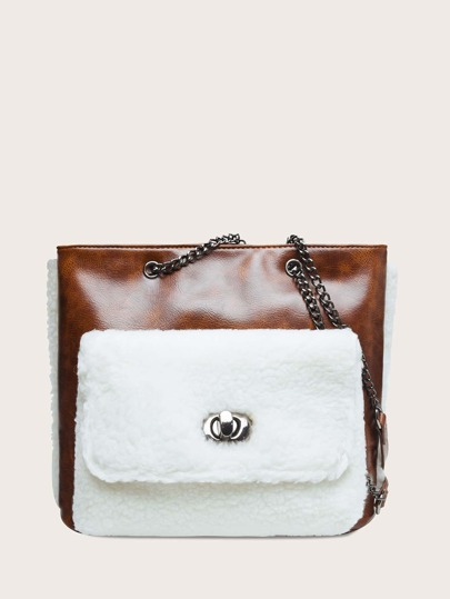 Contrast Faux Fur Twist Lock Chain Tote Bag