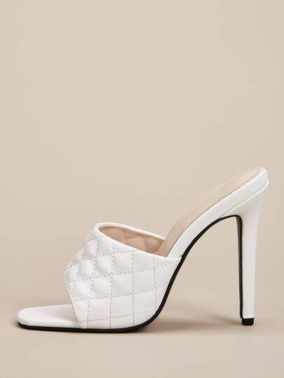 Quilted Stiletto Heeled Mules