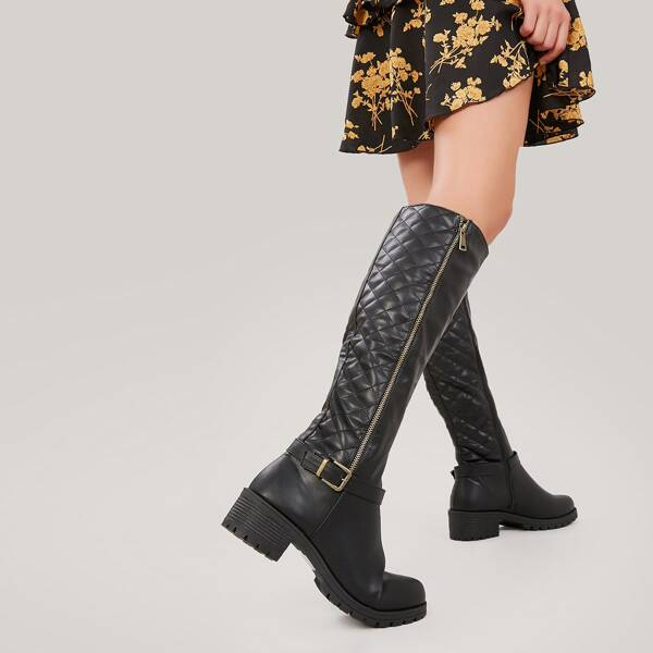 Lug Sole Stacked Heel Quilted Knee High Boots, Black