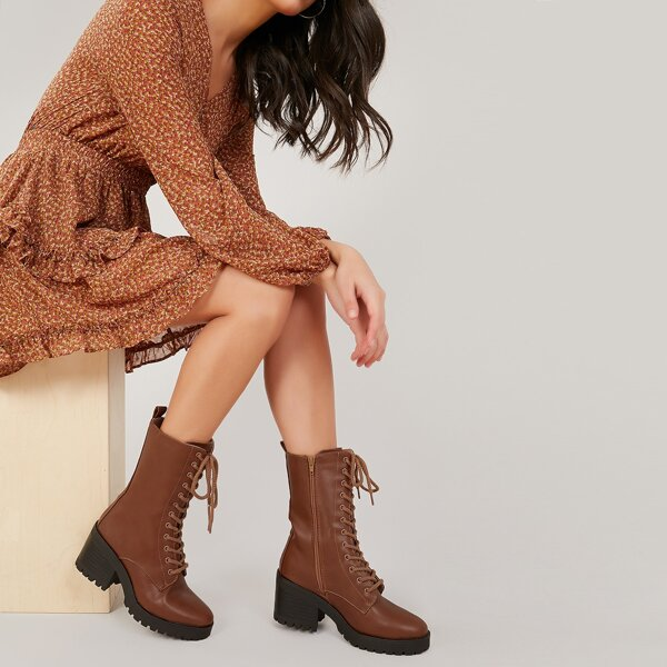 Lace Front Lug Sole Block Heel Military Boots, Brown
