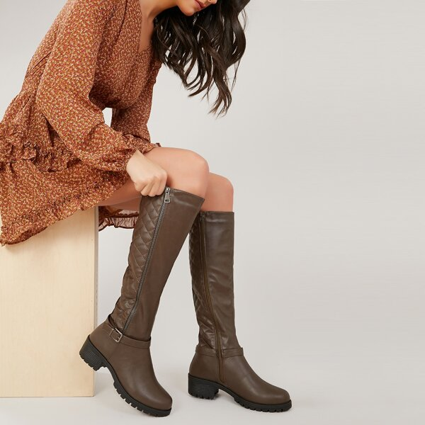 Stitch Detail Lug Sole Knee High Chunky Heel Boots, Brown