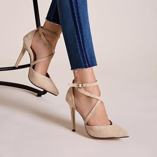 Point Toe Criss Cross Stiletto Heels, Beige