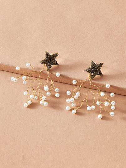 1pair Star & Faux Pearl Decor Earrings