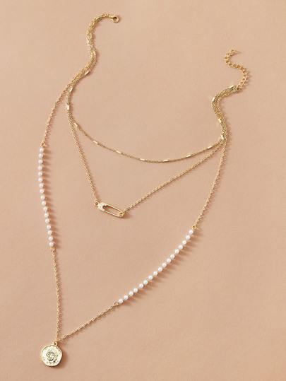 1pc Faux Pearl & Coin Charm Layered Necklace