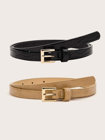 2pcs Crocodile Pattern Buckle Belts