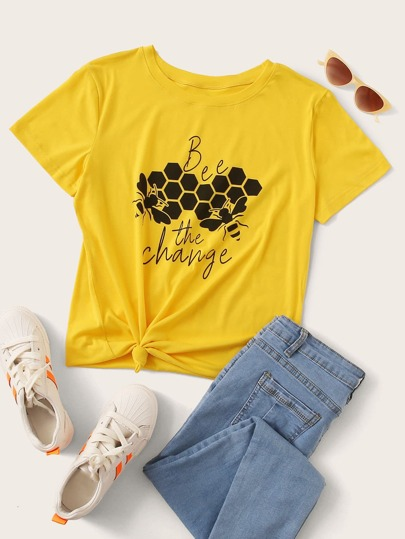 Bee And Letter Graphic Tee