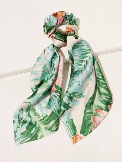 Leaf Pattern Scrunchies Scarf