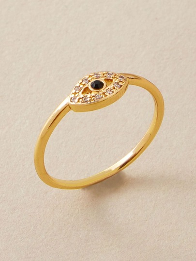 1pc Rhinestone Engraved Eye Decor Ring