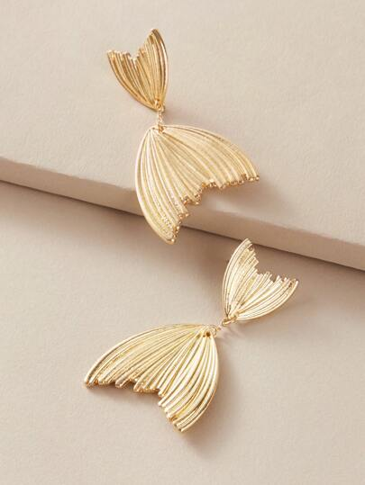 1pair Metallic Textured Kiss Fish Drop Earrings