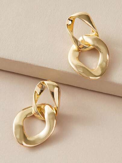 1pair Metallic Link Drop Earrings