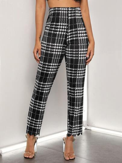 Scallop Hem Plaid Cropped Pants
