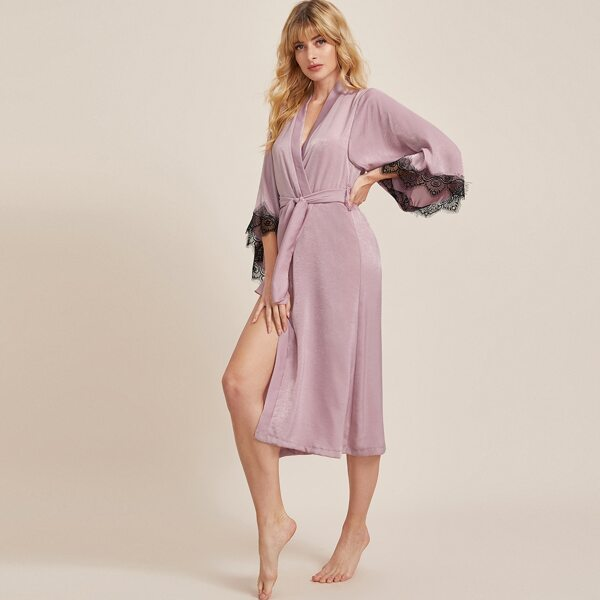 Lace Trim Belted Robe, Pink
