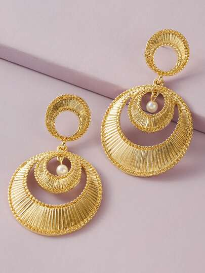 1pair Faux Pearl Decor Textured Round Drop Earrings