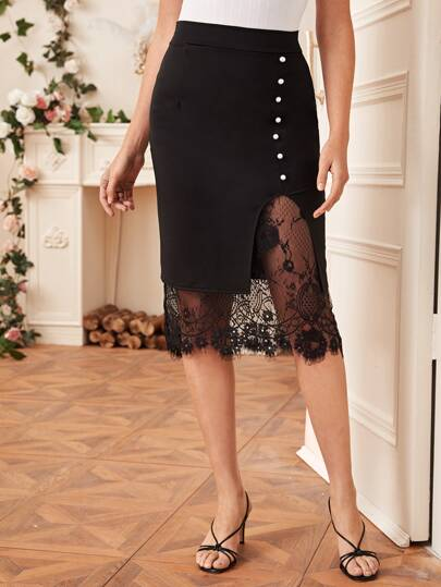 Contrast Lace Hem Pearl Front Skirt