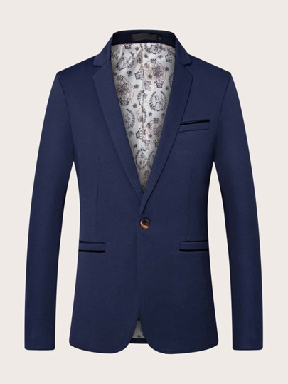 Men Single Button Solid Blazer
