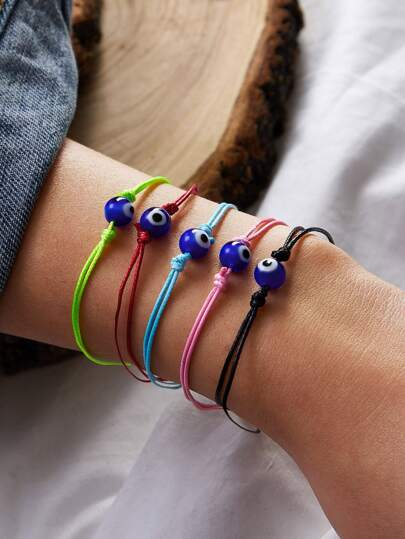 5pcs Eye Decor String Bracelet
